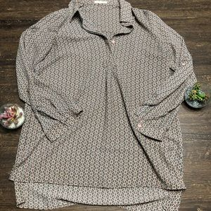 Pleione Long Sleeve Geometric print blouse